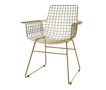 HK-Living Metal wire chair brass