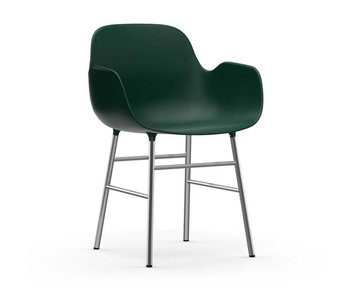 Normann Copenhagen Form Lænestol stol krom grøn