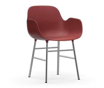 Normann Copenhagen Form Armchair stoel chrome rood