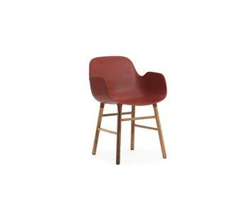 Normann Copenhagen Form valnød stol Lænestol rød
