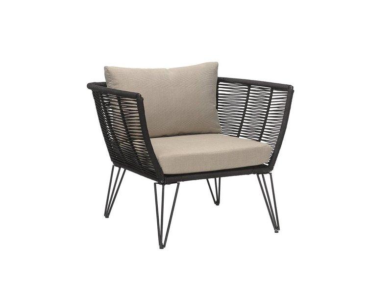 Bloomingville Mundo loungestoel zwart 87x72x74cm