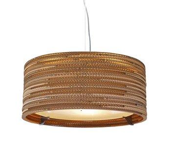 Graypants Drum18 hanging lamp brown cardboard Ø45x21cm