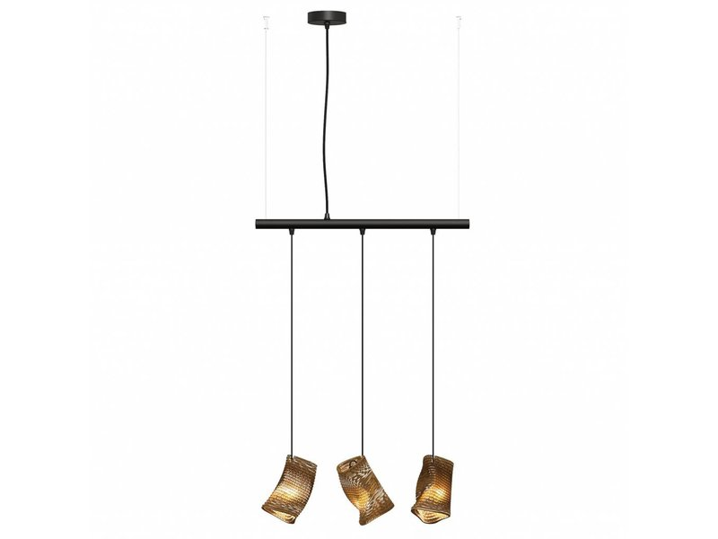 Graypants Moa Linear3 hanging lamp brown Ø15x54cm
