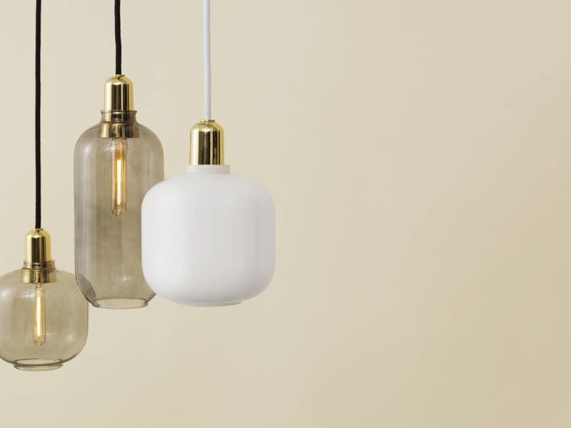 Normann Copenhagen AMP Small hanging lamp white brass
