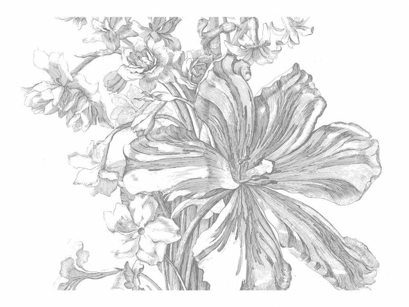 KEK Amsterdam Graverade Blommor tapeter