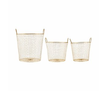 House Doctor Wire set of 3 brass baskets