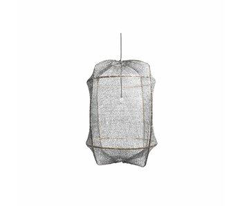 Ay Illuminate Lampada a sospensione Z1 nero rete sisal grigio ø67x100cm