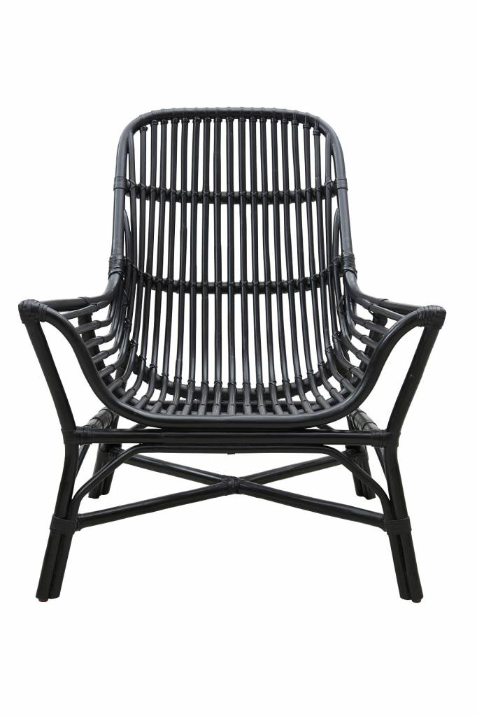 House Doctor Colony Rattan Lounge Sessel schwarz LIVING