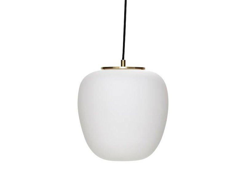 Hubsch Hanglamp wit glas met messing detail