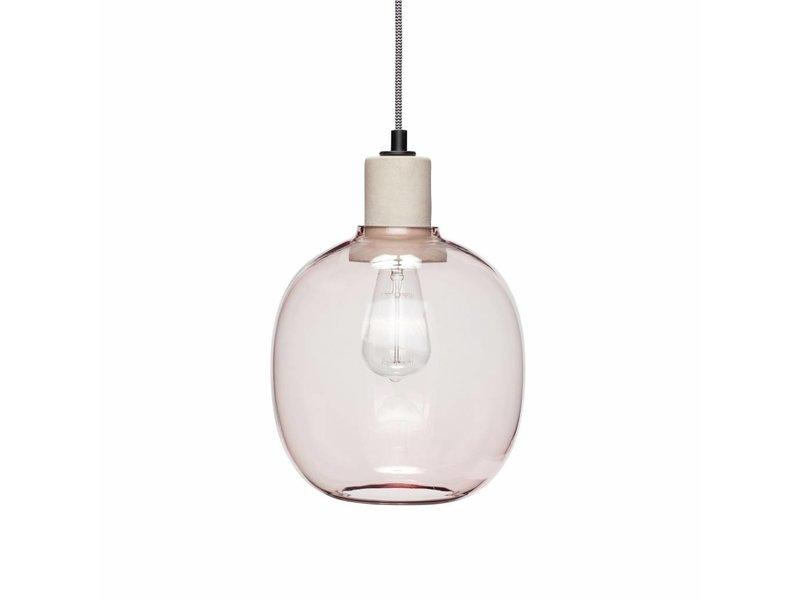 Lampade In Vetro A Sospensione : Lampada a sospensione in vetro rosa hübsch con dettagli in cemento