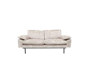 HK-Living Retro soffa 2-sits sammet vintagelook kräm