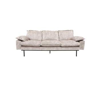 HK-Living Retro soffa 3-sits sammet vintagelook kräm