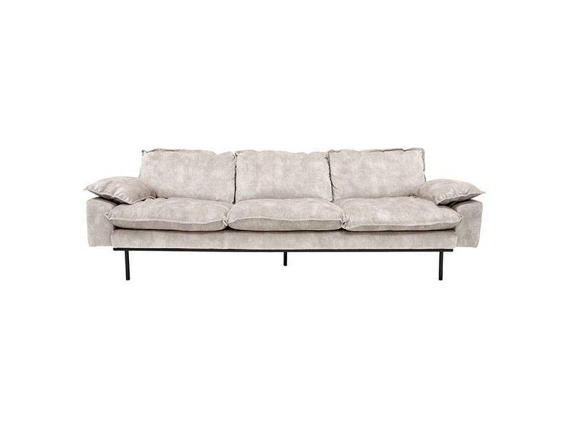 HK-Living Retro soffa 4-sits sammet vintagelook kräm
