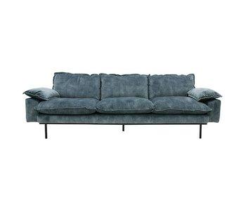 HK-Living Retro soffa 4-sits sammet vintagelook bensin