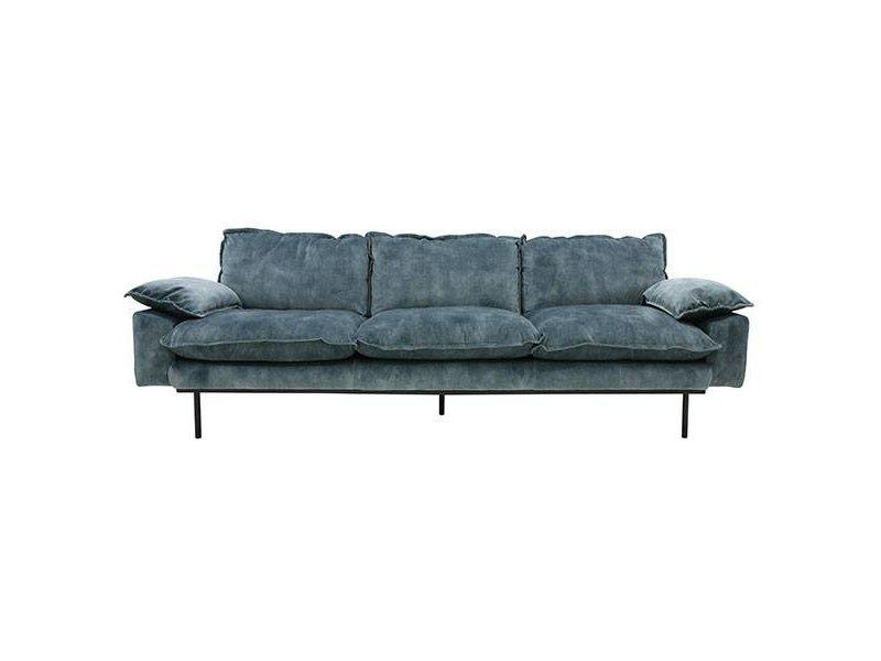 Hk Living Retro Sofa 4 Seater Velvet Vintagelook Petrol