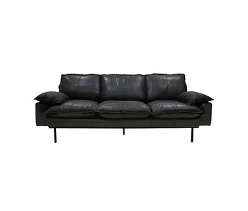 HK-Living Retro sofa 3-seater black retro look leather
