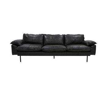 HK-Living Retro sofa 4-seater black retro look leather