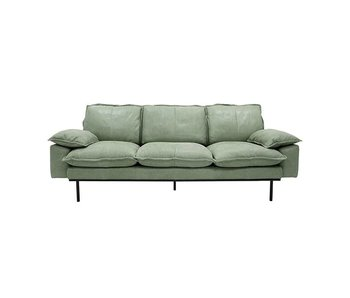 HK-Living Retro Sofa 3-Sitzer mintgrün Retro-Look Leder