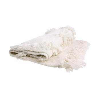 HK-Living Sengetøj med frynser hvid