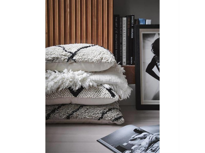 HK-Living Bedspread with fringes white