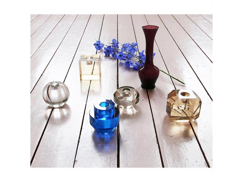 HK-Living Candle holder crystal glass gray