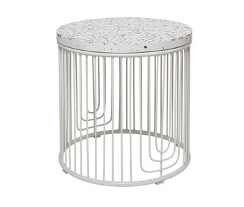 Bloomingville Cap table d'appoint blanc terrazzo
