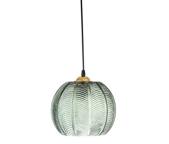 Bloomingville Hanging lamp green glass with pattern