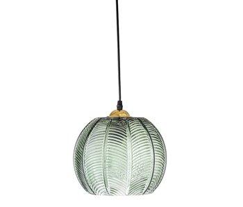 Bloomingville Lampe suspendue verre vert avec motif