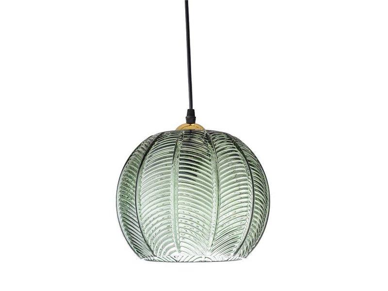 Bloomingville Hængende lampe grønt glas med mønster