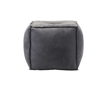 House Doctor Pouf blue gray suede