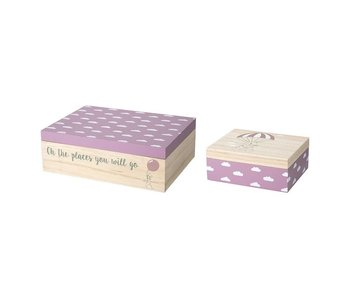 Bloomingville Mini Set of storage boxes with clouds print