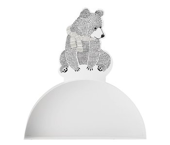 Bloomingville Mini Wall shelf white metal with bears print