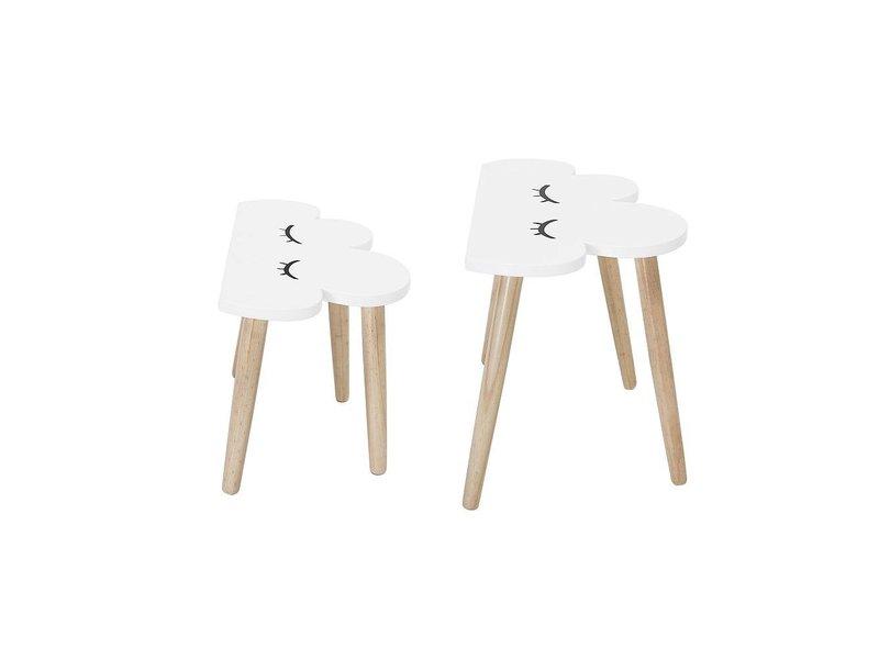 Bloomingville Mini Bijzettafel set wit hout wolken