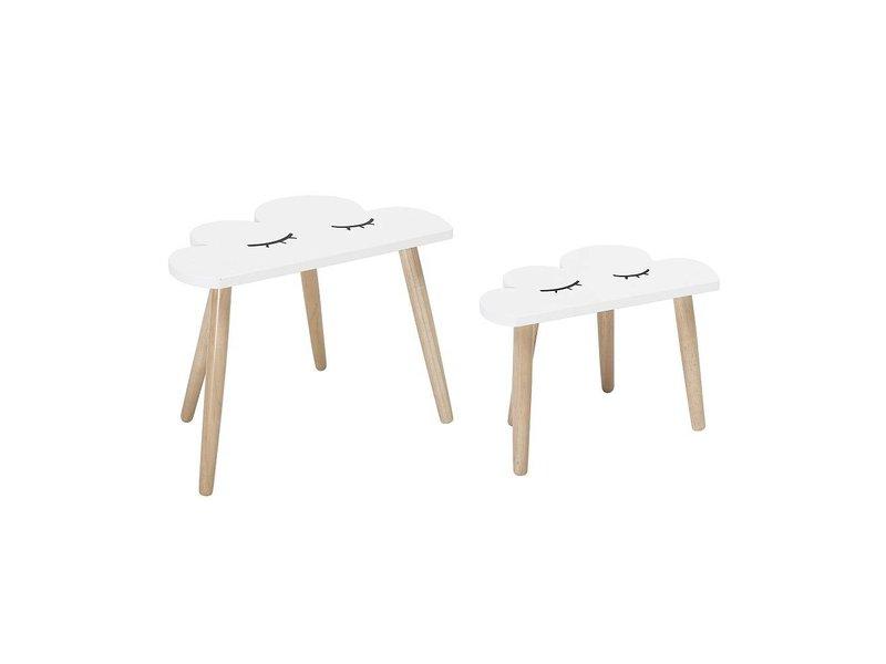 Bloomingville Mini Beistelltischsatz weiße hölzerne Wolken
