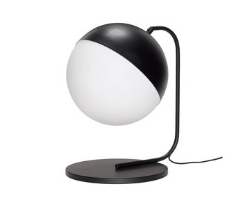 Hubsch Tischlampe aus schwarzem Metall mit weißem Glas