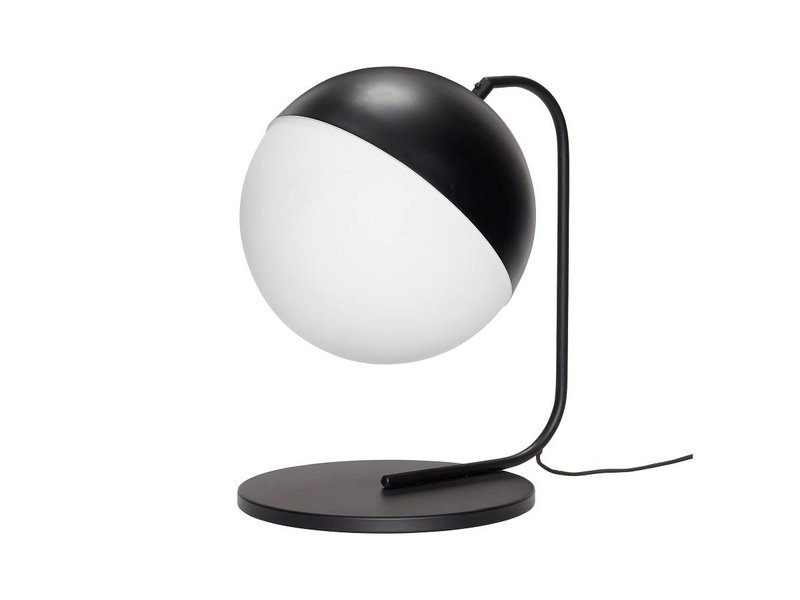 Lampada da tavolo hübsch in metallo nero con vetro bianco living