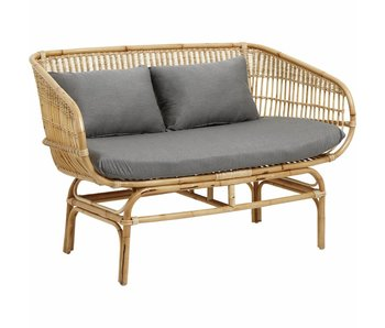 Nordal Rattan sofa with gray cushions