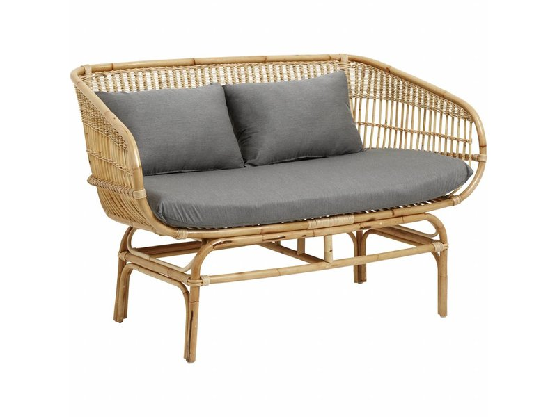 Divano in rattan nord con cuscini grigi - LIVING AND CO.