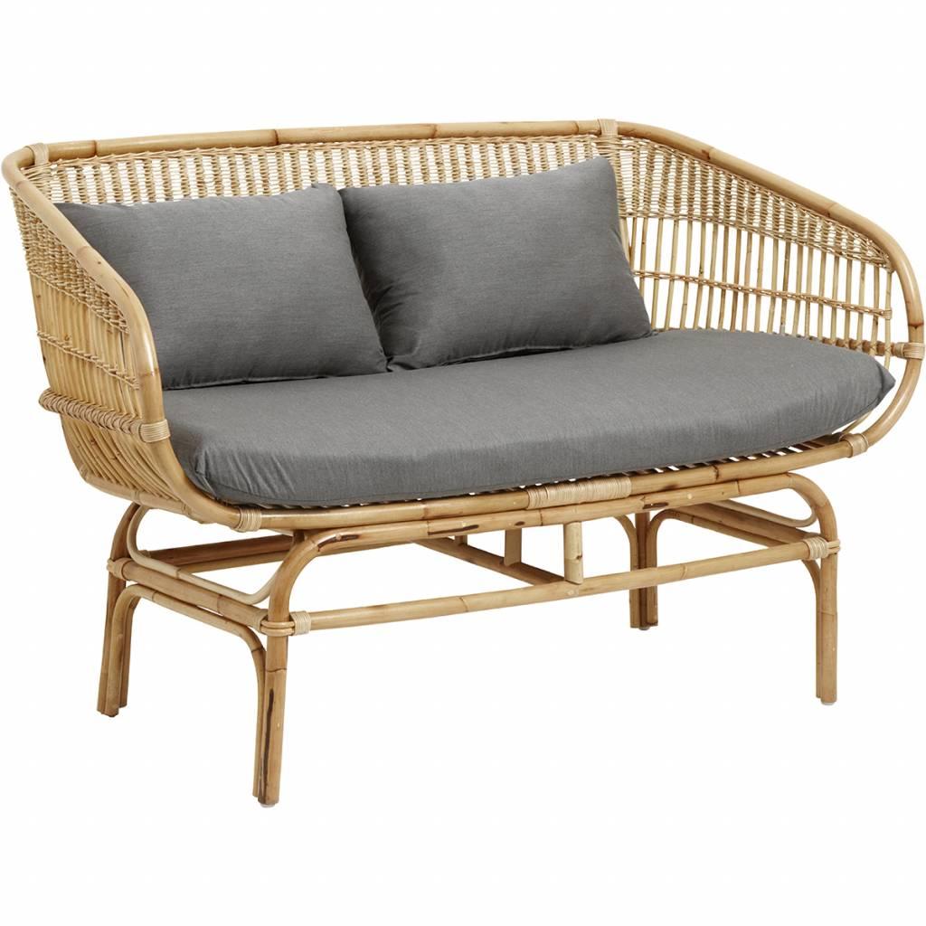 Nordal Rattan Sofa With Gray Cushions