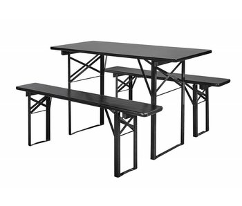 Nordal Table with benches set black