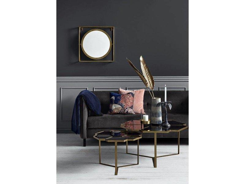 Kæmpestor Nordal kaffebord blomstermønster guld med glas - LIVING AND CO. UO64