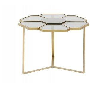Nordal Sofabord blommönster guld med glas