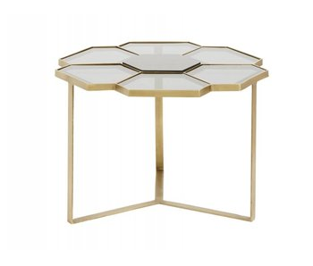 Nordal Table basse motif fleuri or avec verre
