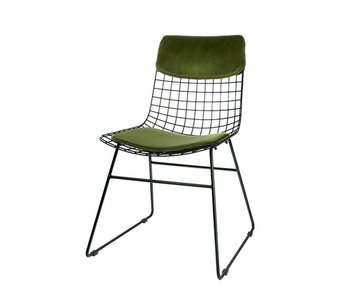 HK-Living Cushion velours green for metal wire chair