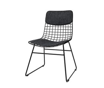 HK-Living Pillow black for metal wire chair