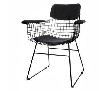 HK-Living Coussin noir pour fauteuil en métal