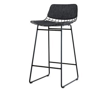 HK-Living Pillow black for metal bar stool
