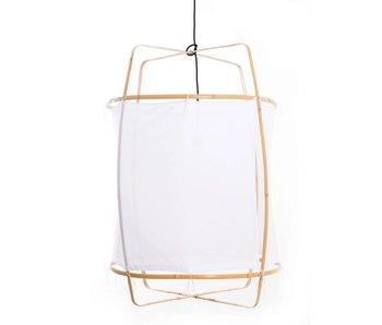 Ay Illuminate Lámpara colgante Z2 marco rubio con algodón blanco ø67x100cm