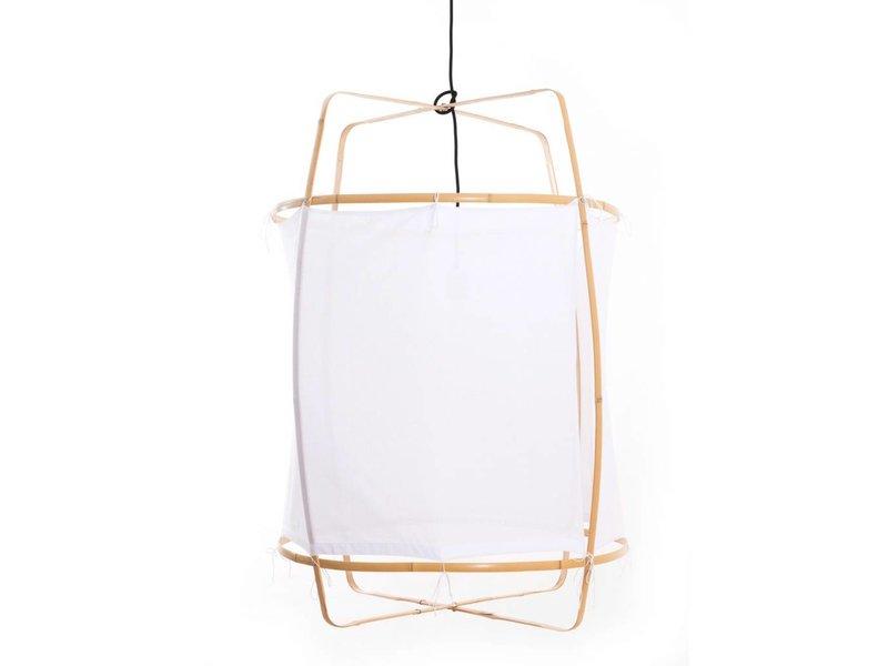 Ay Illuminate Hængelampe Z2 blond ramme med hvid bomuld ø67x100cm