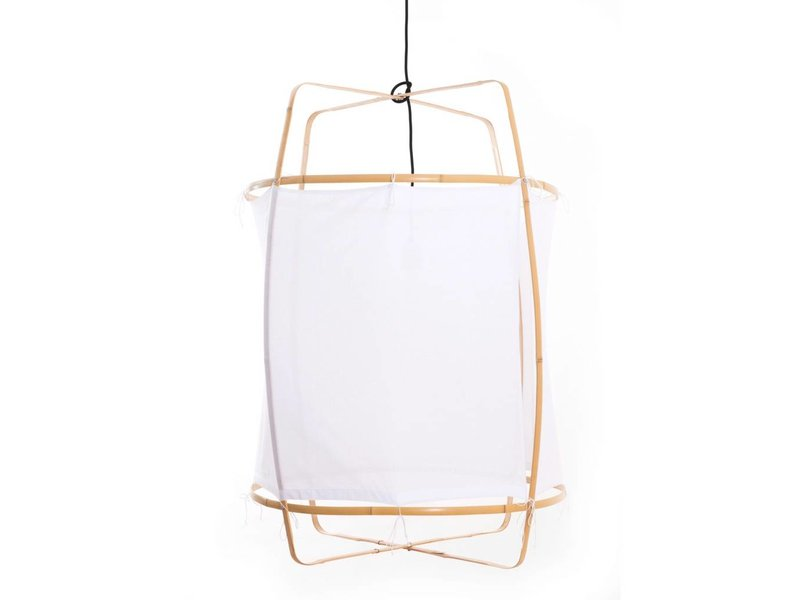 Ay Illuminate Hanging lamp Z2 blond frame with white cotton ø67x100cm